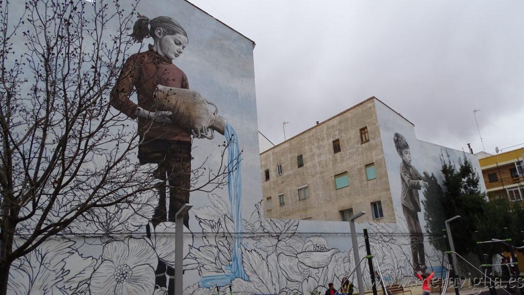 Mural pintado en Requena