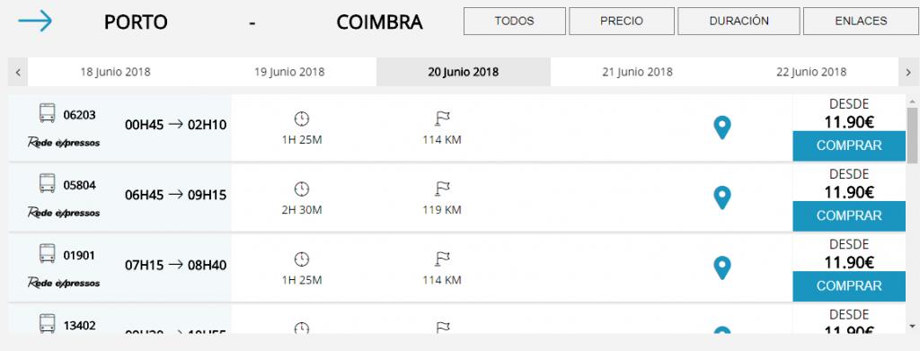 Billetes autobus Oporto Coimbra
