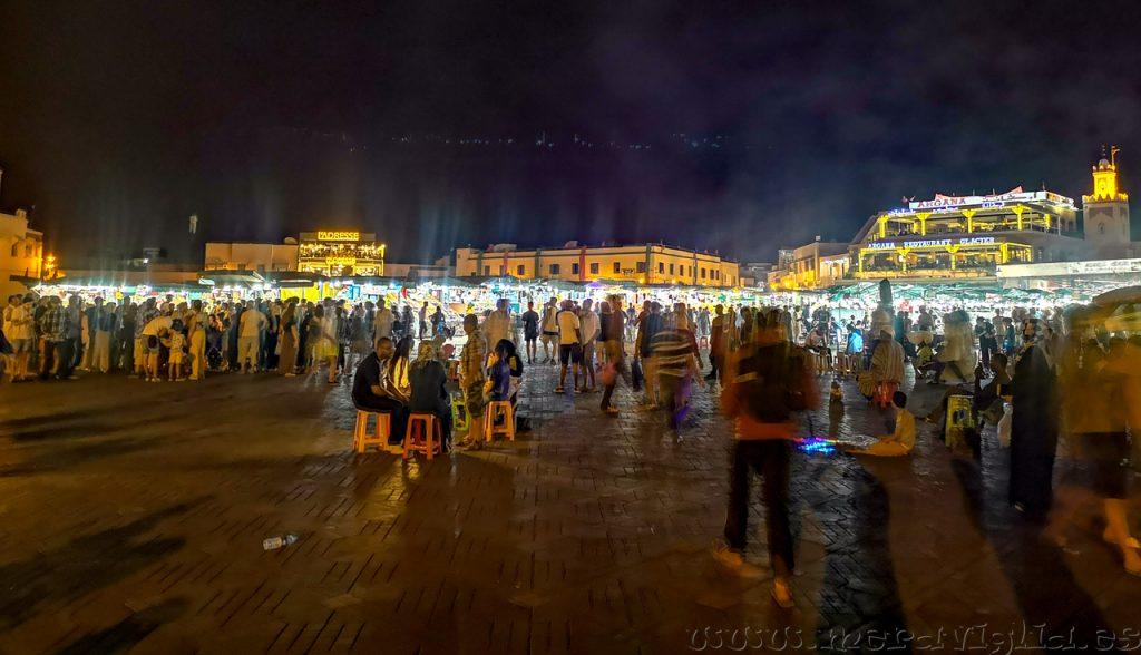 foto nocturna Marrakech