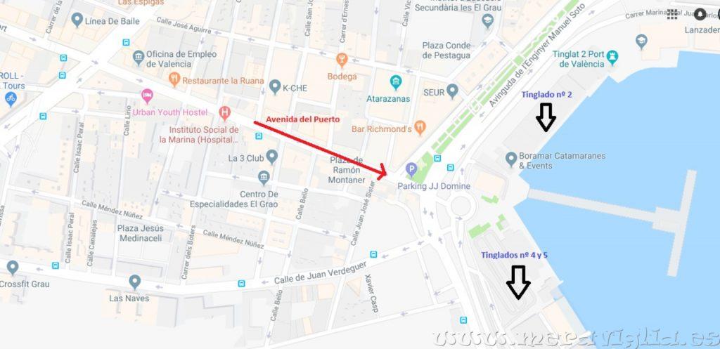 Mapa tinglados Valencia